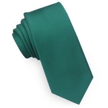 Emerald Green Ribbed 6cm Mens Slim Tie