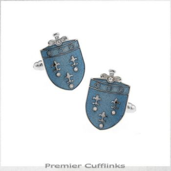 FLEUR DE LIS ON BLUE CREST CUFFLINKS