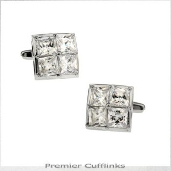 FOUR CRYSTAL SQUARES INSET CUFFLINKS