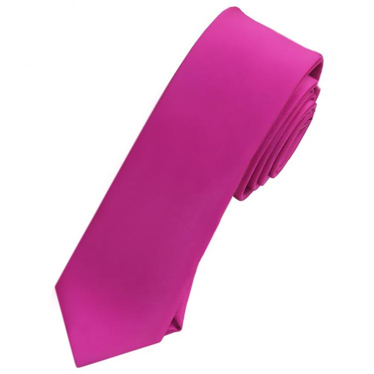 Mens Fuschia Cerise Magenta Pink Skinny Tie