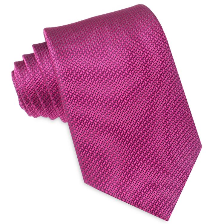 Magenta Cerise Pink Woven Texture Mens Tie