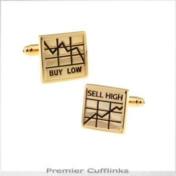 GOLD BUY LOW SELL HIGH CUFFLINKS