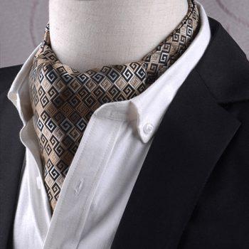 Gold, Black & White Greek Key Ascot Cravat