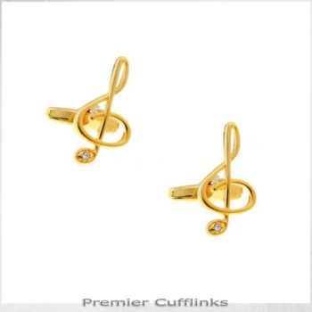 GOLD WITH GEM INSET TREBLE CLEF CUFFLINKS