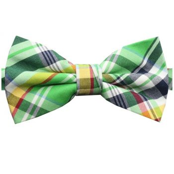 Green, Yellow, White & Red Tartan Bow Tie