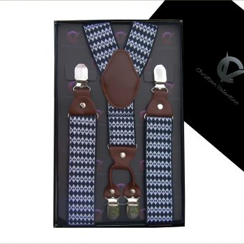 Black With Blue & White Starry Pattern 4 Clip Men's Braces