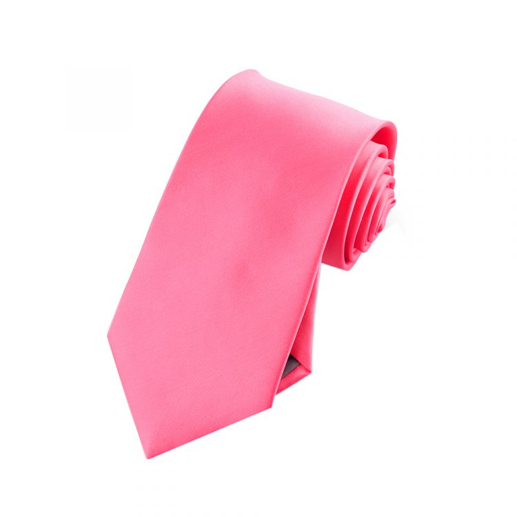Boys Bright Hot Pink Plain Tie