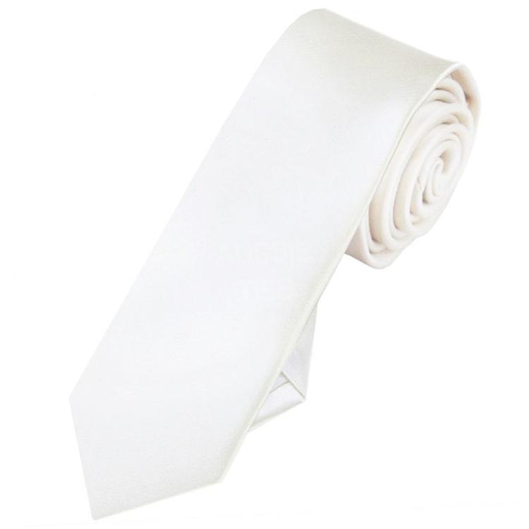 Mens Ivory Champagne Skinny Tie