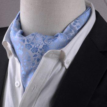 Light Blue Floral Ascot Cravat