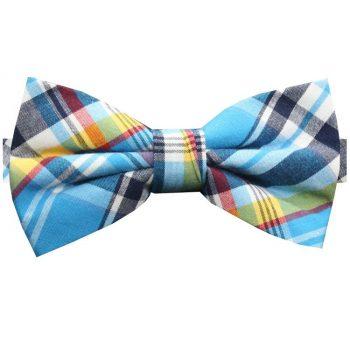 Light Blue, Red, Yellow & White Tartan Bow Tie