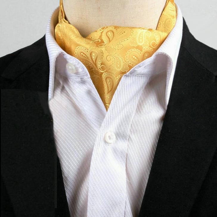 Men's Gold Paisley Ascot Cravat