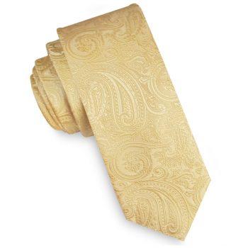 Light Gold Paisley Mens Skinny Necktie