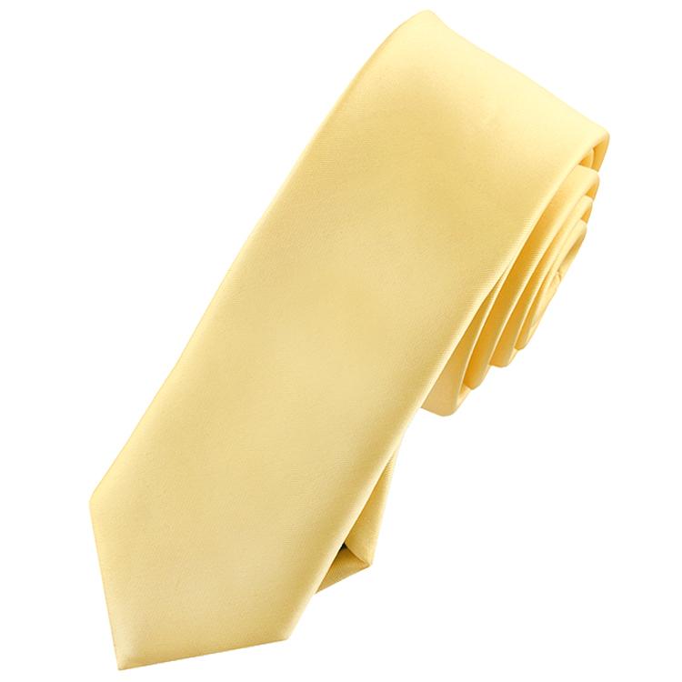 Mens Light Gold Yellow Skinny Tie