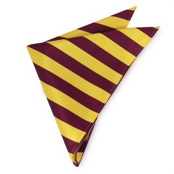 Yellow & Maroon Striped Pocket Square Handkerchief