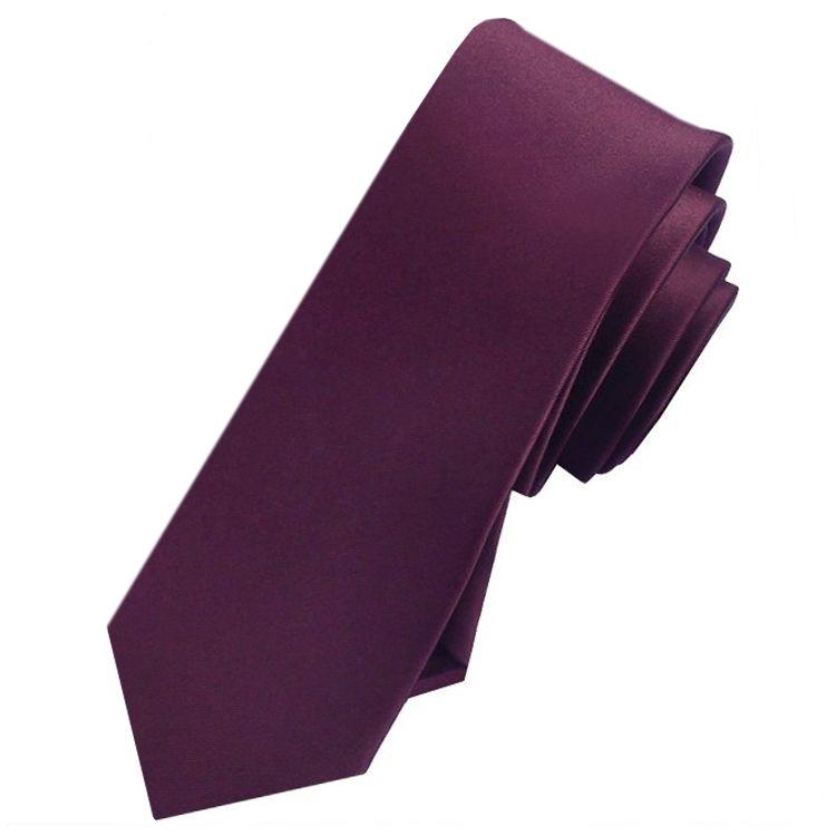 Mens Maroon Deep Burgundy Skinny Tie