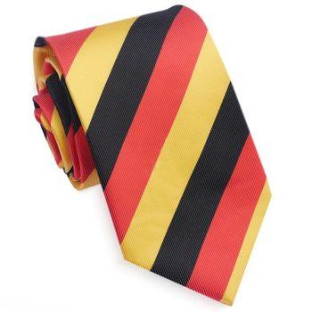 Black, Red & Yellow Stripes Mens Sports Tie