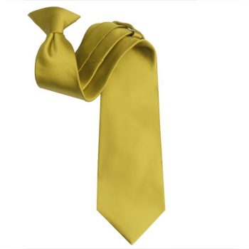 Mens Metallic Gold Clip On Tie