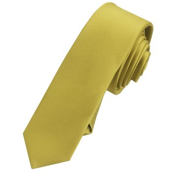 Mens Metallic Gold Skinny Tie