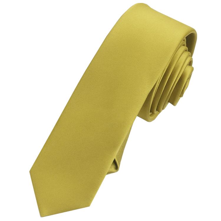 Mens Metallic Gold Skinny Tie