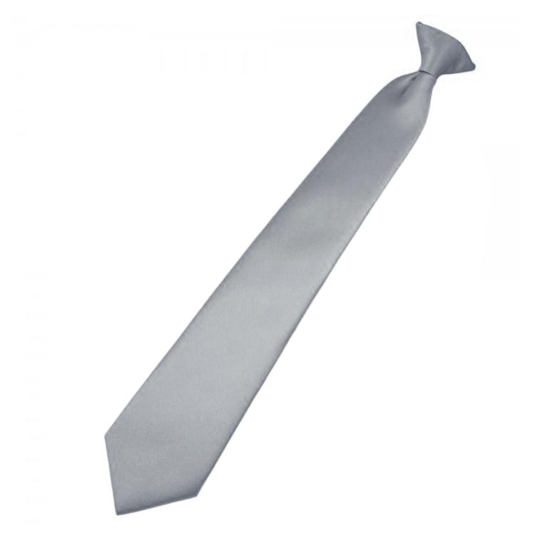 Mens Mid Silver Clip On Tie