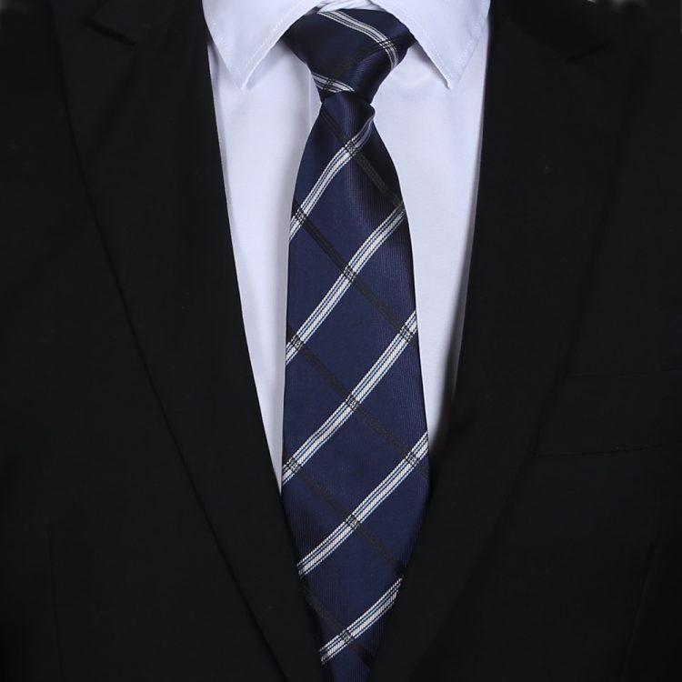 Midnight Blue Plaid Mens Tie