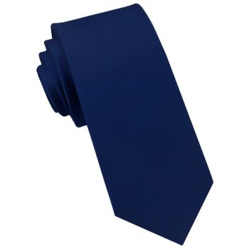Midnight Blue Ribbed 6cm Mens Slim Tie