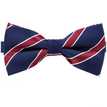 Midnight Blue Scarlet And White Stripes Mens Bow Tie