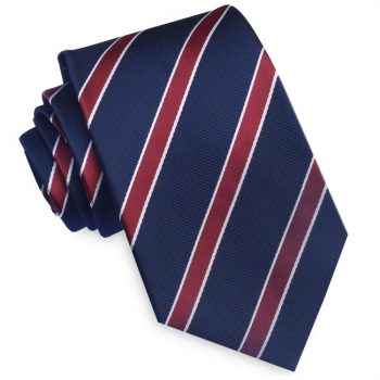 Midnight Blue Scarlet And White Stripes Mens Slim Tie