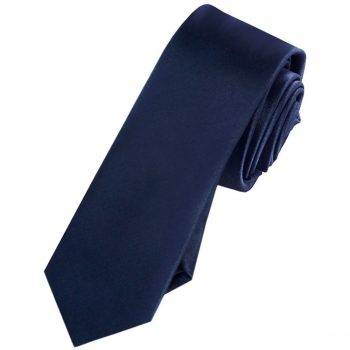 Mens Midnight Dark Blue Skinny Tie