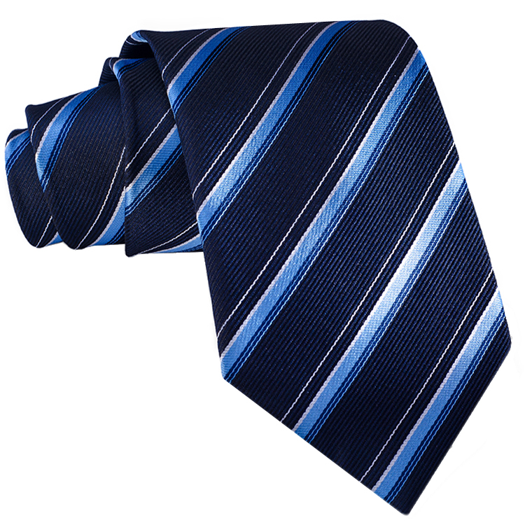 midnight blue with sky blue and white stripes tie