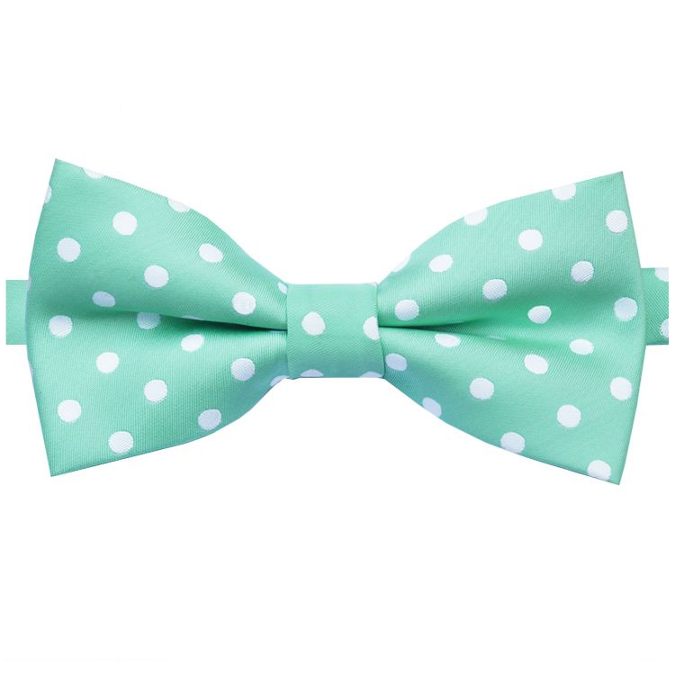 Mint Light Green Polka Dot Mens Bow Tie