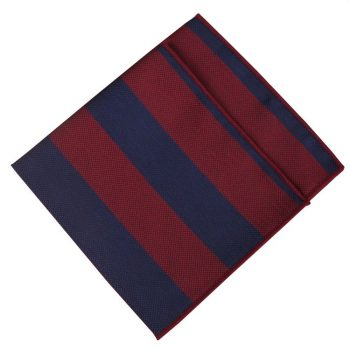 Dark Red With Navy Blue Stripes Pocket Square