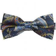 Navy Blue & Gold Paisley Bow Tie