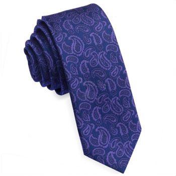 Navy Blue & Purple Paisley Skinny Tie