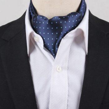 Men's Navy With Light Blue Polka Dots Ascot Cravat