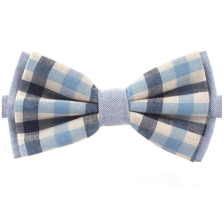 Navy & Light Blue Check Bow Tie