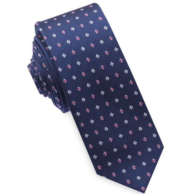 Navy with Pink and White Diamonds Mens Skinny Necktie