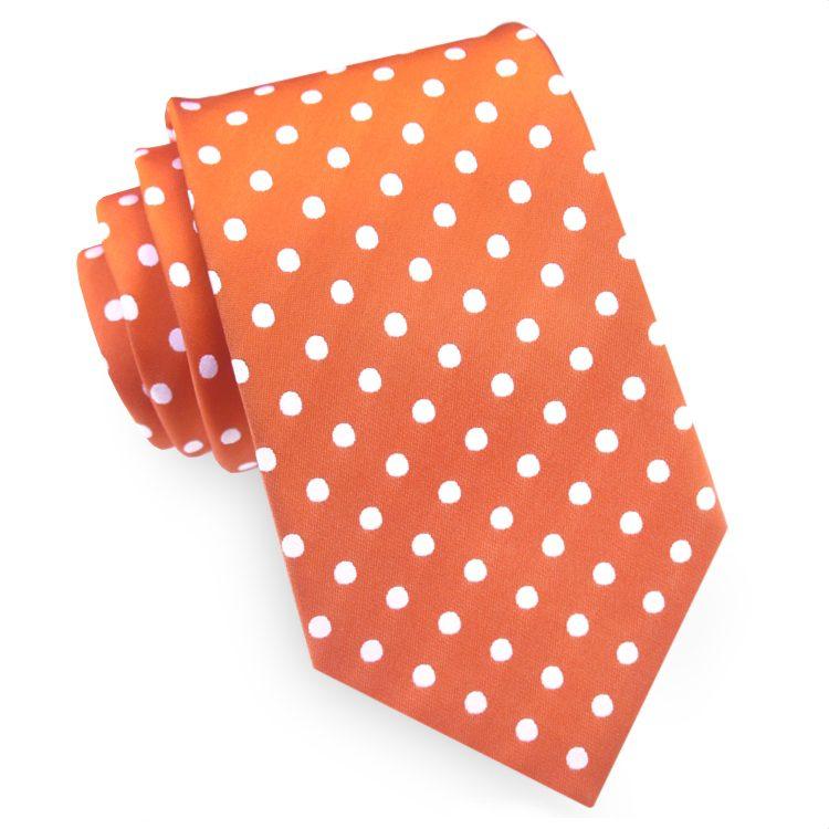 Orange Polka Dot Mens Tie