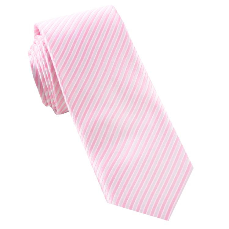 White & Baby Pink Thin Stripes Mens Necktie