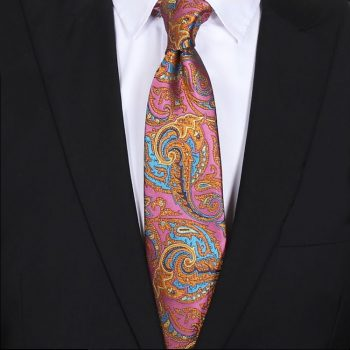 Pink With Orange And Blue Floral Mens Tie