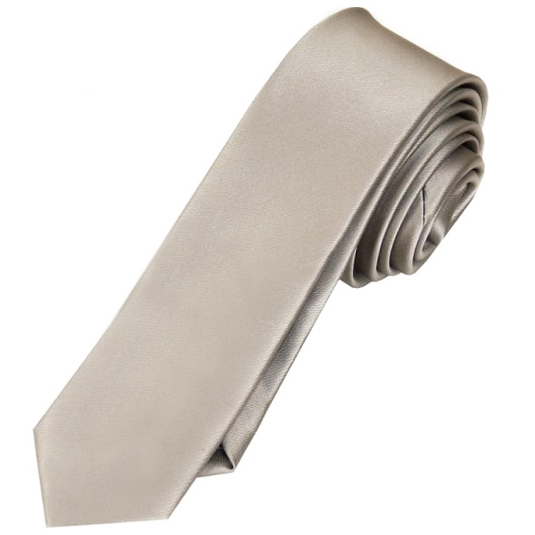 Mens Platinum White Gold Skinny Tie