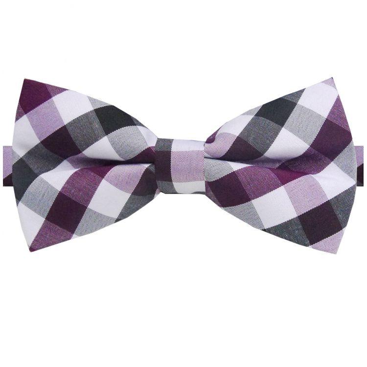 Purple, Black & White Check Bow Tie