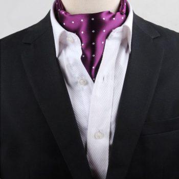 Men's Purple With White Polka Dots Ascot Cravat