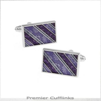 PURPLE FLORAL DIAGONAL CUFFLINKS