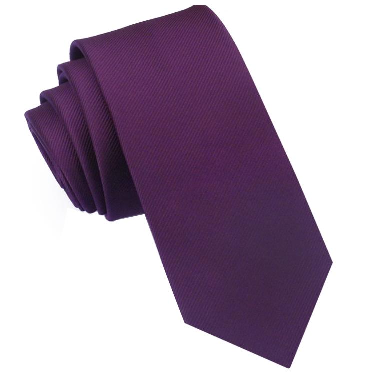Plum Grape Purple Ribbed 6cm Mens Slim Tie