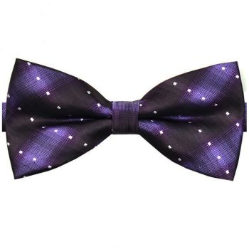 Purple With Dark Purple Stripes & White Polka Dots Bow Tie