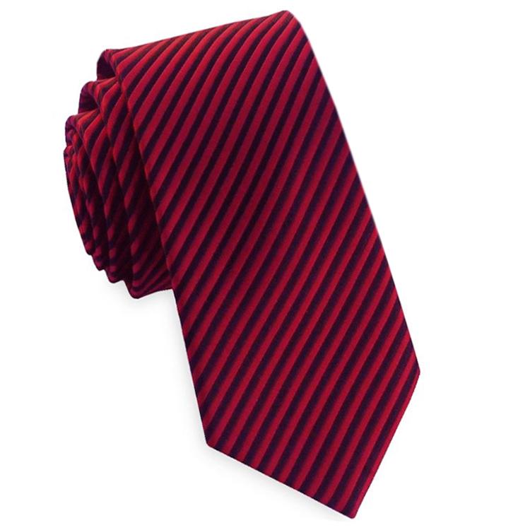 Red & Black Thin Stripes Mens Necktie