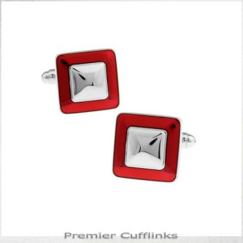 RED AND SILVER SQUARES CUFFLINKS