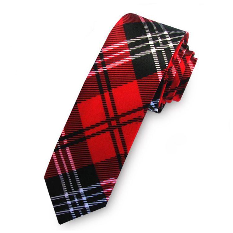 Red, Black & White Tartan Mens Skinny Necktie