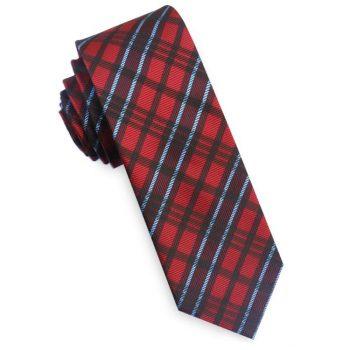 Red & Light Blue Tartan Plaid Skinny Tie